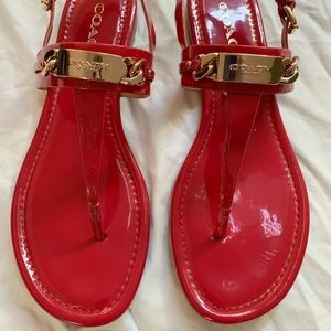 EUC Coach red patent leather sandals 8.5